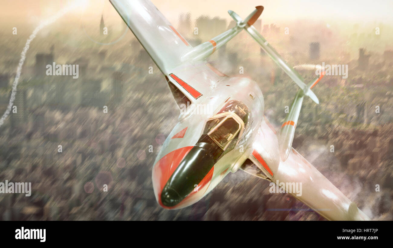 Vampire jet fighter fly attack in a city war - Stock Image