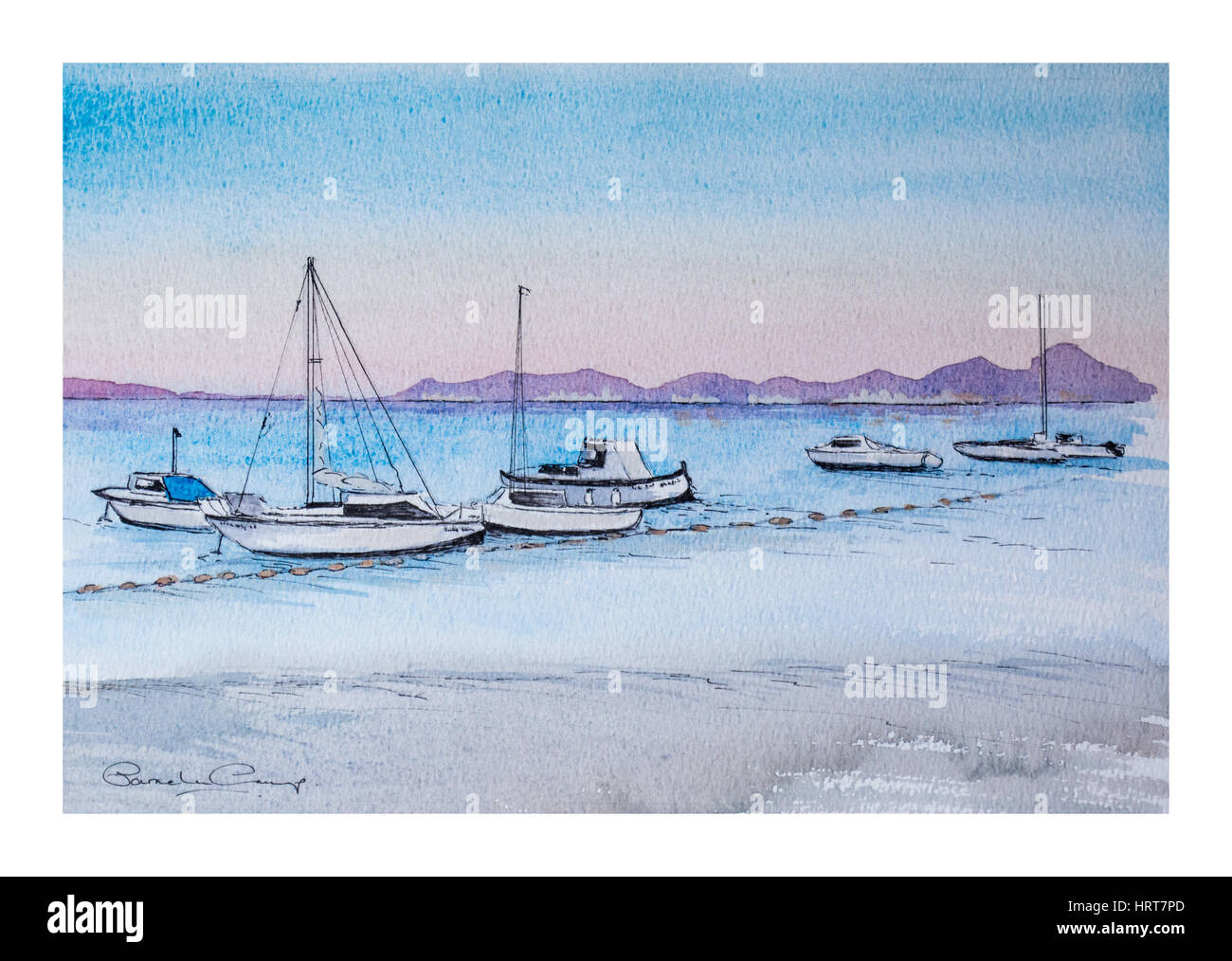 Watercolour painting of Boats on the Mar Menor, Los Alcazares, Murcia, Spain - Stock Image
