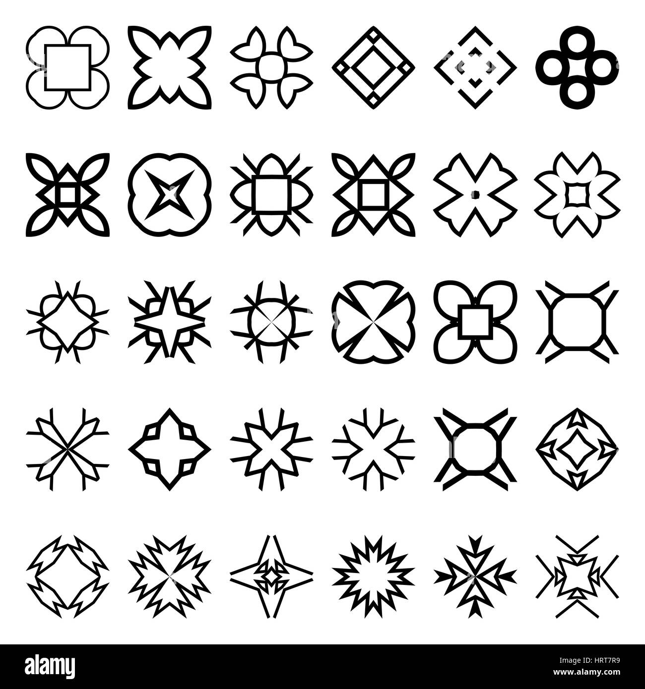 Set of geometric simple forms. Suits for swatches to create seamless patterns. Vector illustration. Abstract creative - Stock Image