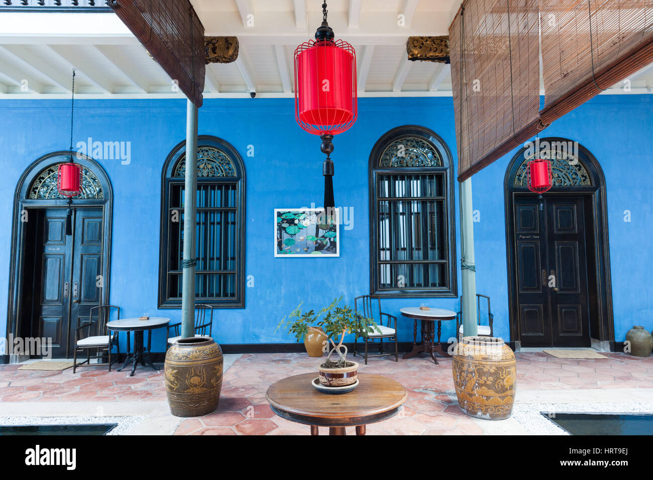 Georgetown, Malaysia — 04 August, 2014: The interior of Fatt Tze Mansion or Blue Mansion, famous oriental historical Stock Photo
