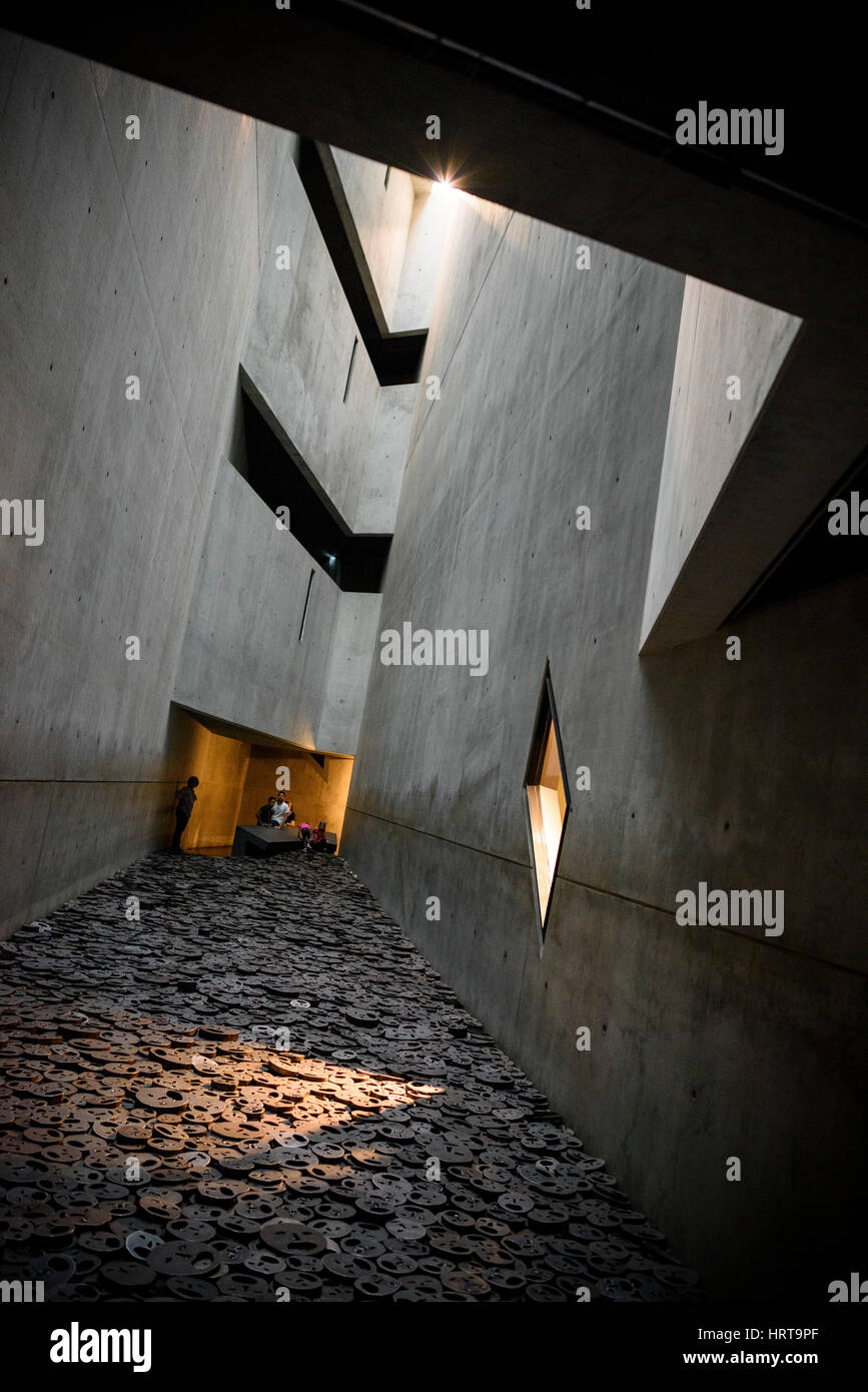 Berlin. Germany. Jewish Museum. Shalekhet (Fallen Leaves) art installation in the Memory Void, by Israeli artist - Stock Image