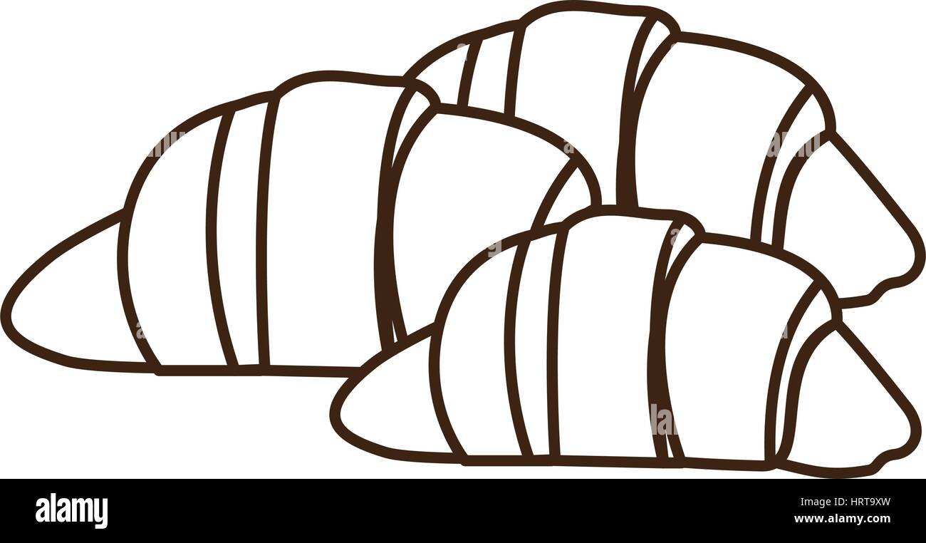 silhouette set croissant bread icon - Stock Image