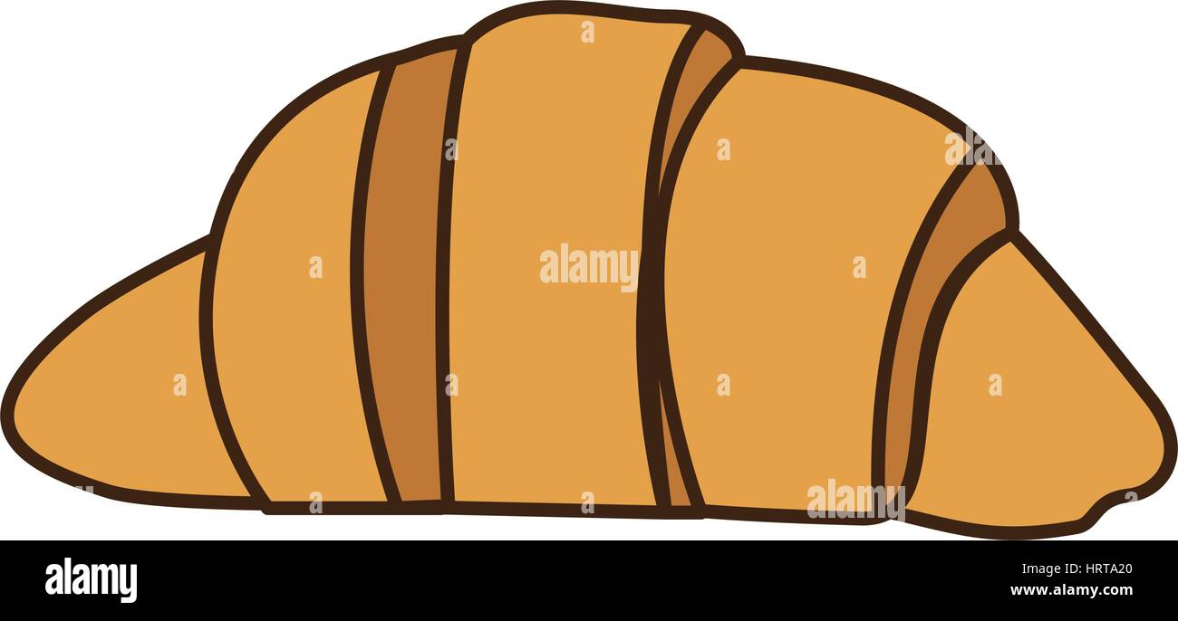 colorful silhouette croissant bread icon food - Stock Image