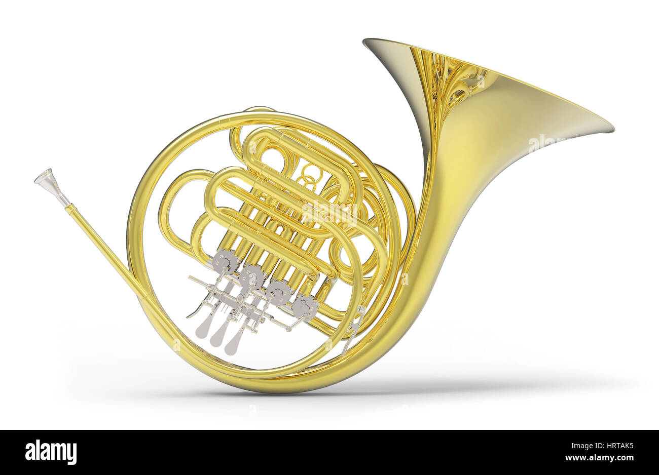 French horn on white background 3D rendering - Stock Image