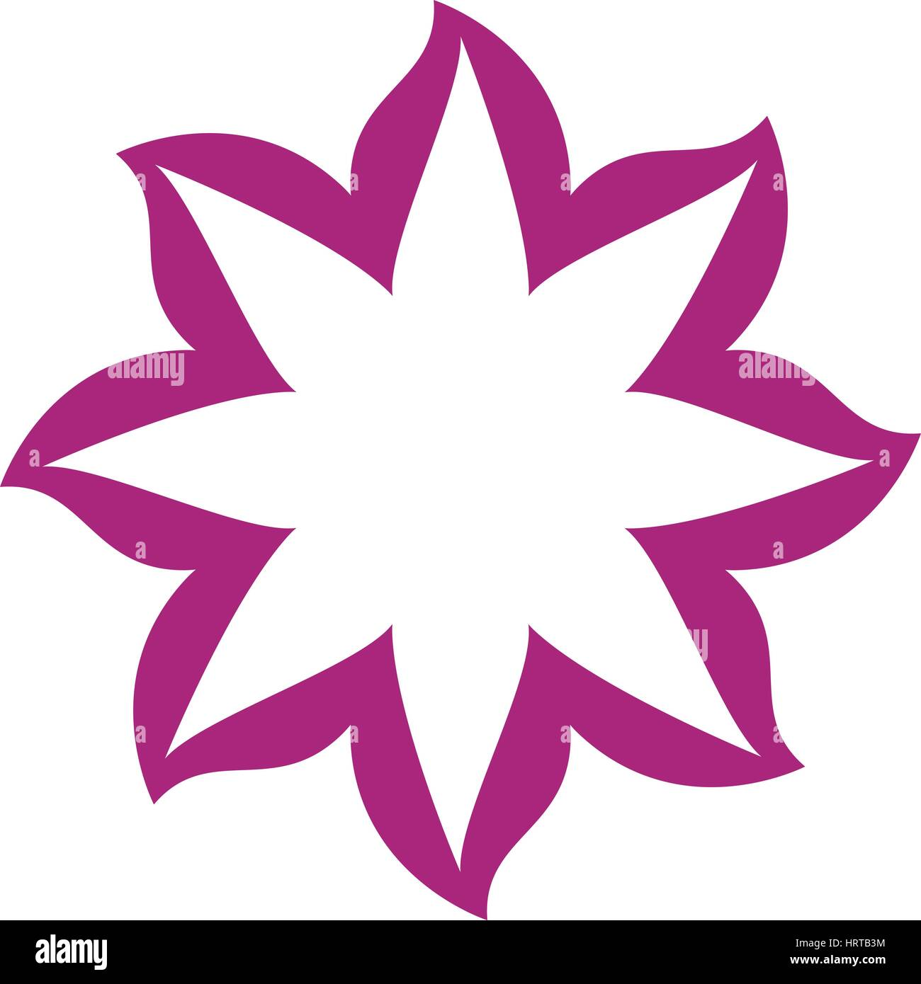 thin contour magenta of flower icon - Stock Vector