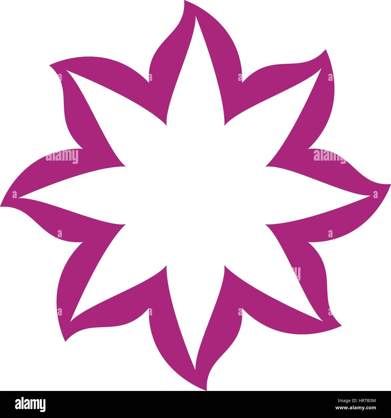 thin contour magenta of flower icon - Stock Image