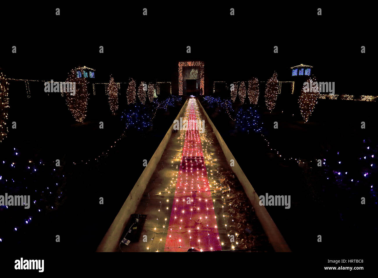 Untermyer Park holiday light show Yonkers New York - Stock Image