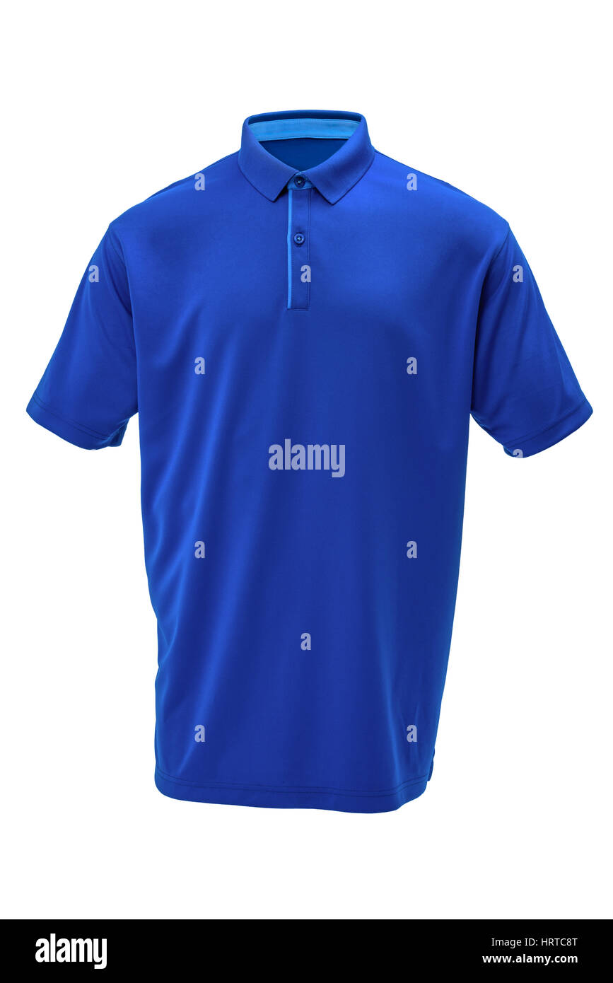 Blue golf tee shirt with light blue  collar for man on white background - Stock Image