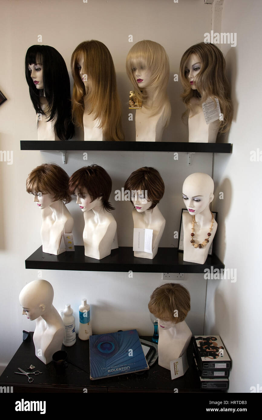 .  Wigs on display - Stock Image