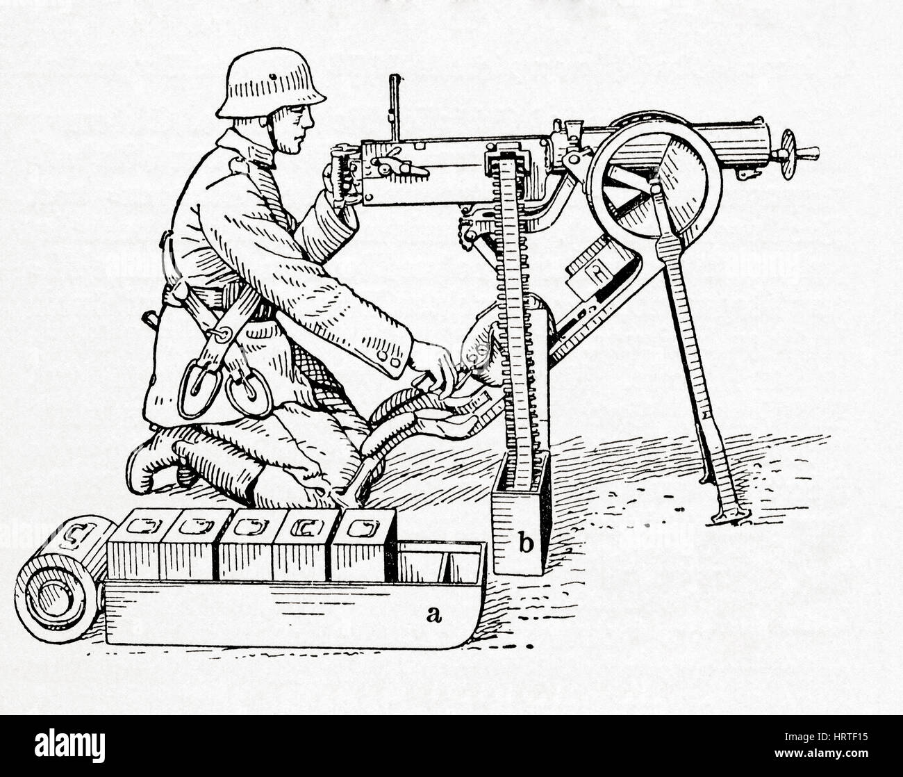 A German soldier operating a Maxim gun during WWI. It was the first recoil-operated machine gun, invented by Hiram - Stock Image