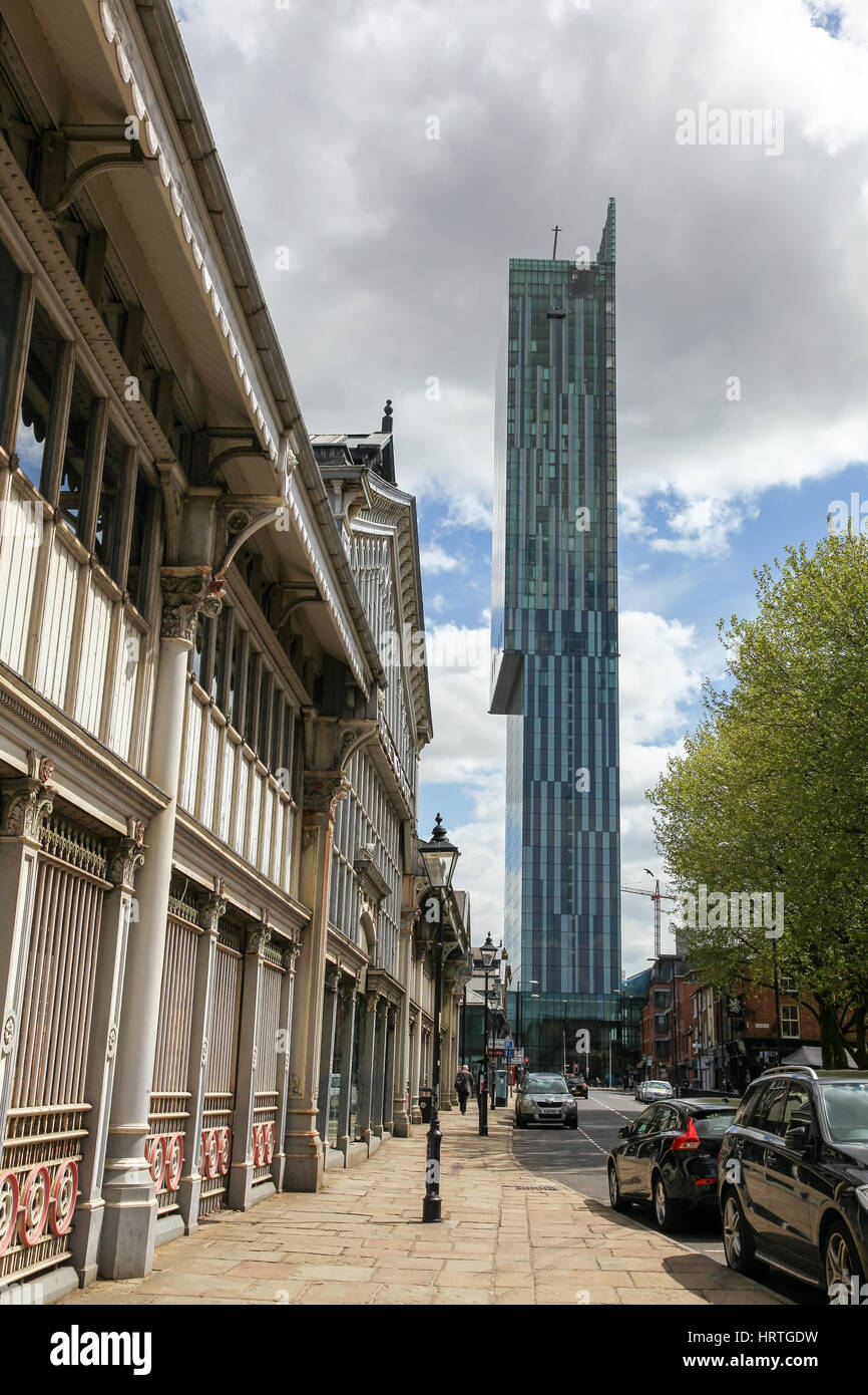 A view of Beetham Tower with the Manchester Museum of Science and Industry on the left, Manchester England UK - Stock Image
