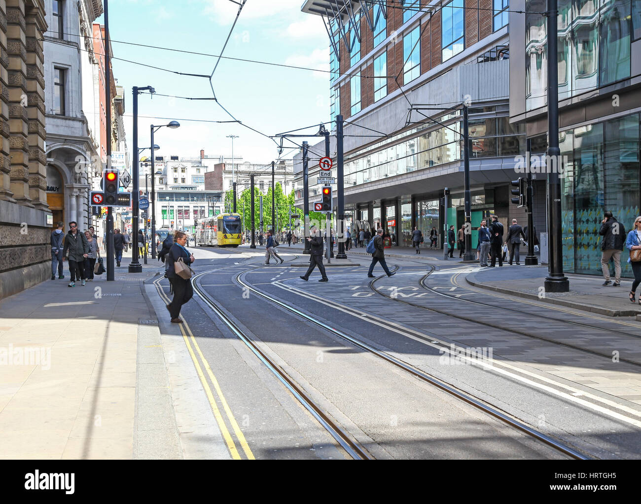 The tramway on Mosley Street Manchester city centre Manchester England UK - Stock Image