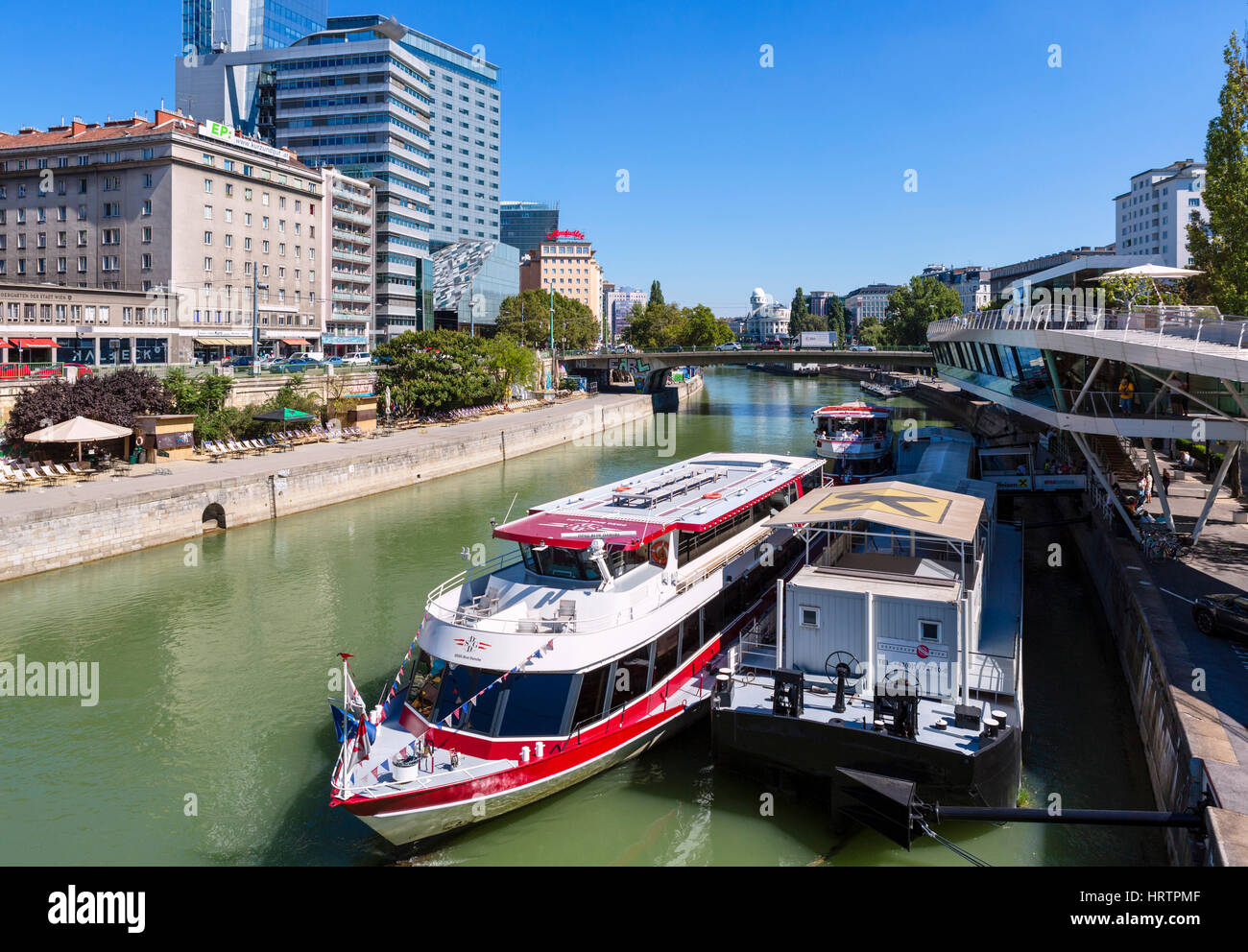 Tour Boat On The Donaukanal Danube Canal At The Schwedenplatz Boat