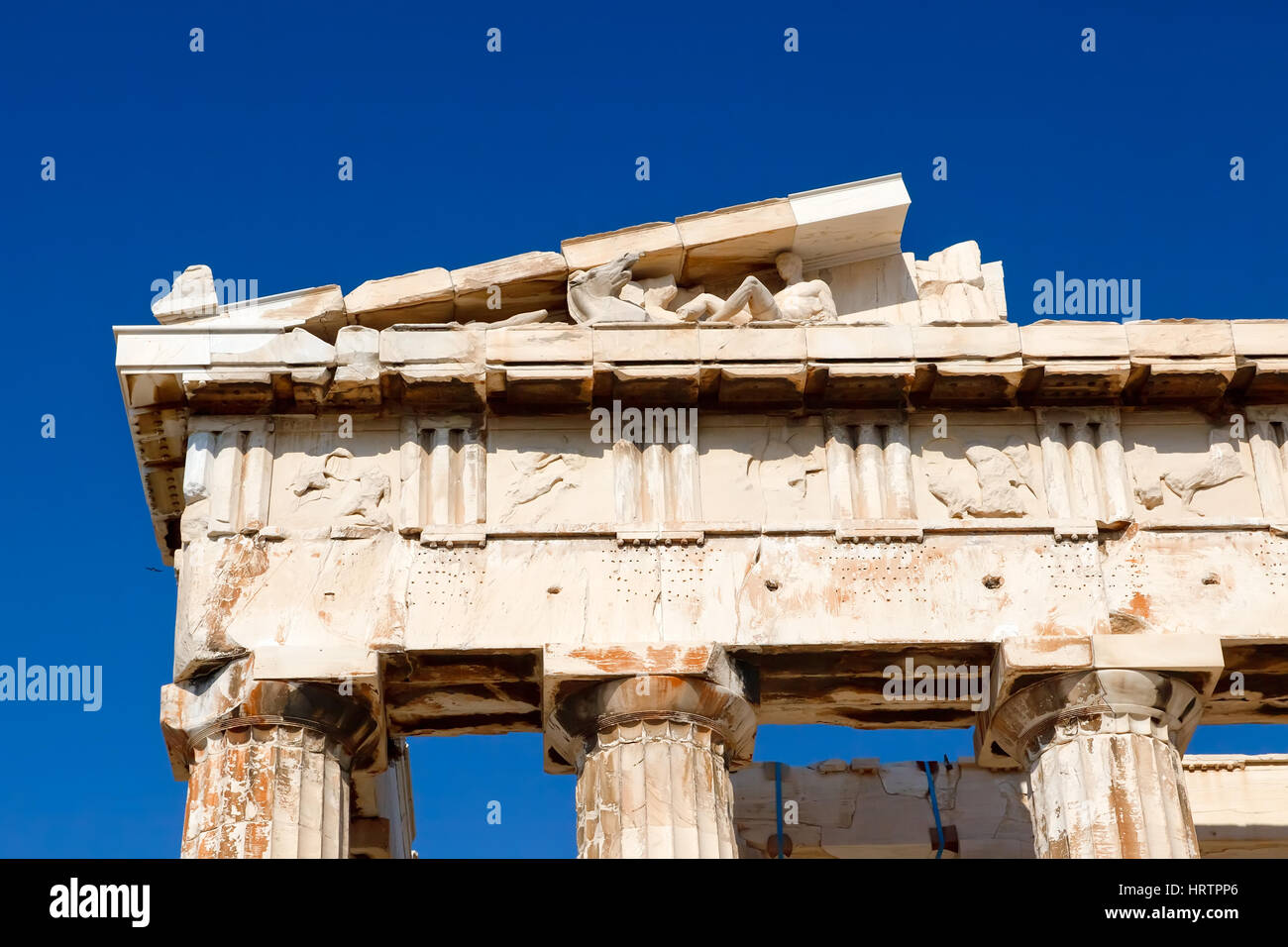 Detail of antique greek temple in Athens - Stock Image
