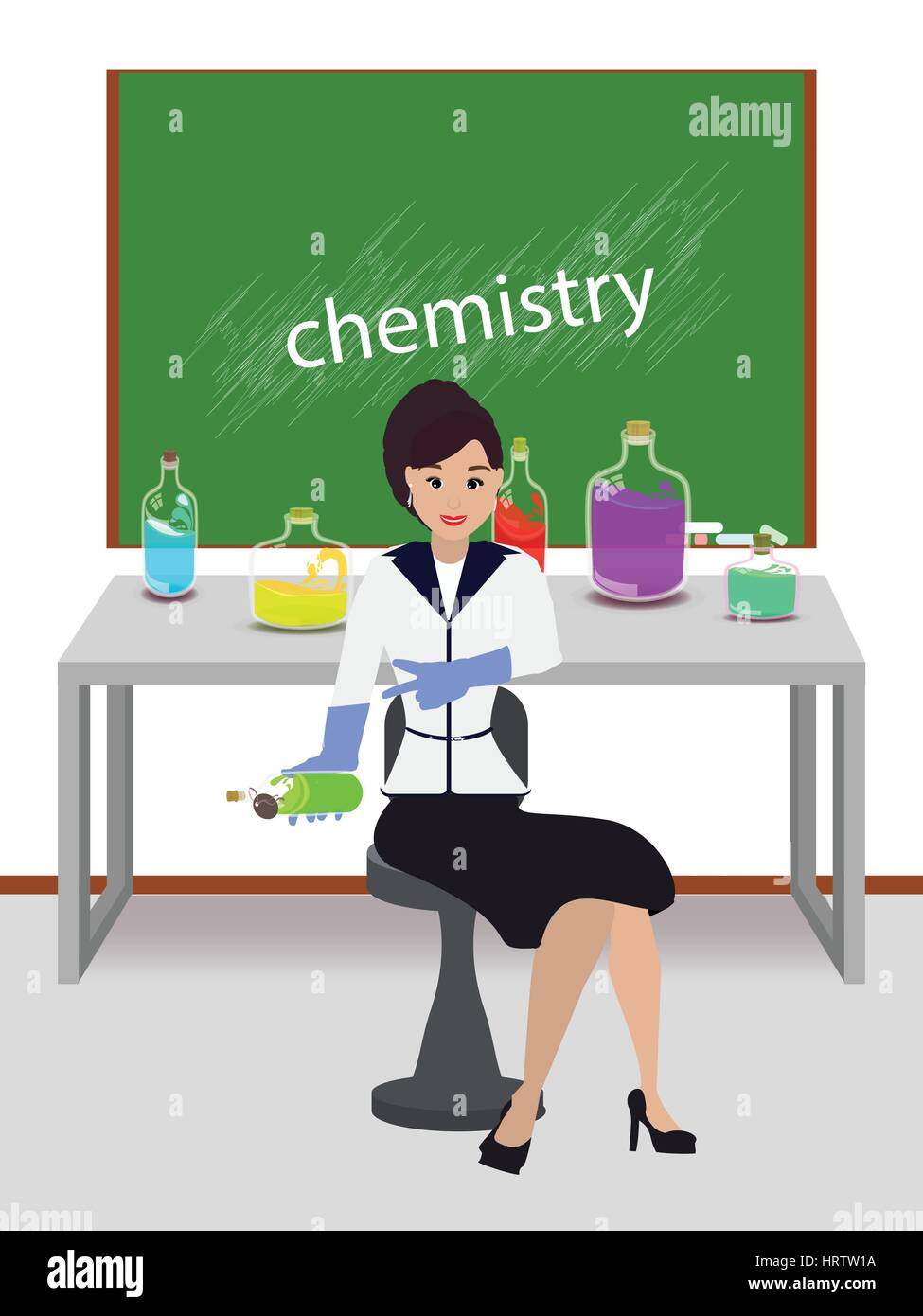 teacher of chemistry. concept of education. illustration. use a smart phone, website, printing, decorating etc - Stock Vector