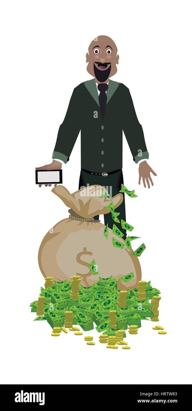 a man with a phone and a bag of money on a white background. concept of finance. illustration. use a smart phone, Stock Vector