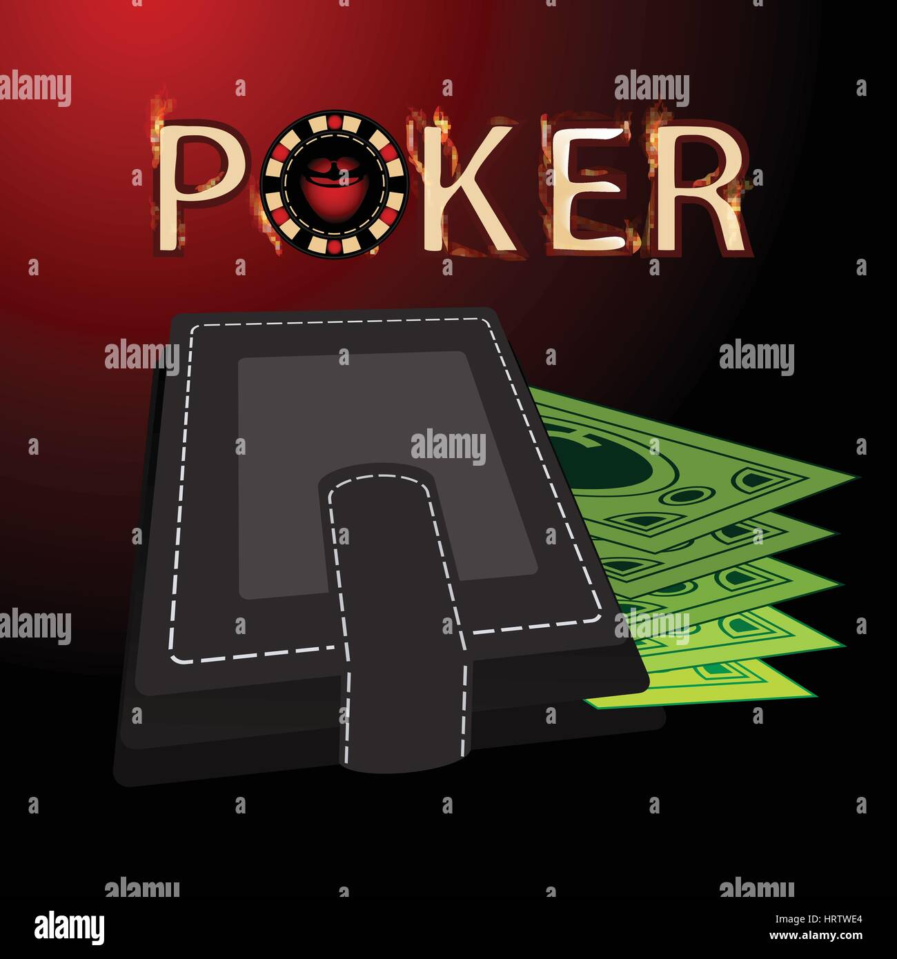 poker purse. concept of finance. illustration. use a smart phone, website, printing decorating etc - Stock Vector