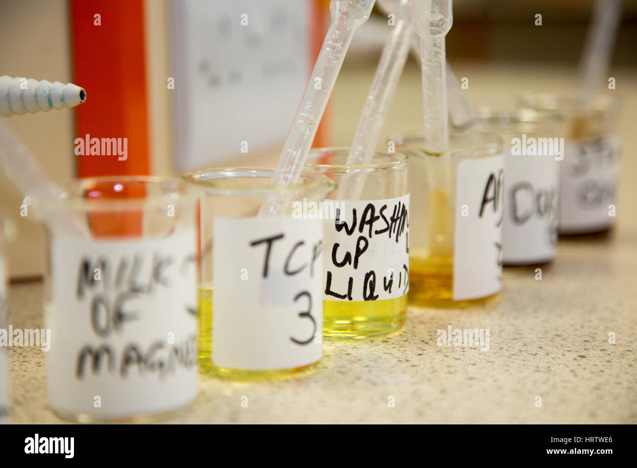 Beakers containing liquids for college students to use for experimentation Stock Photo