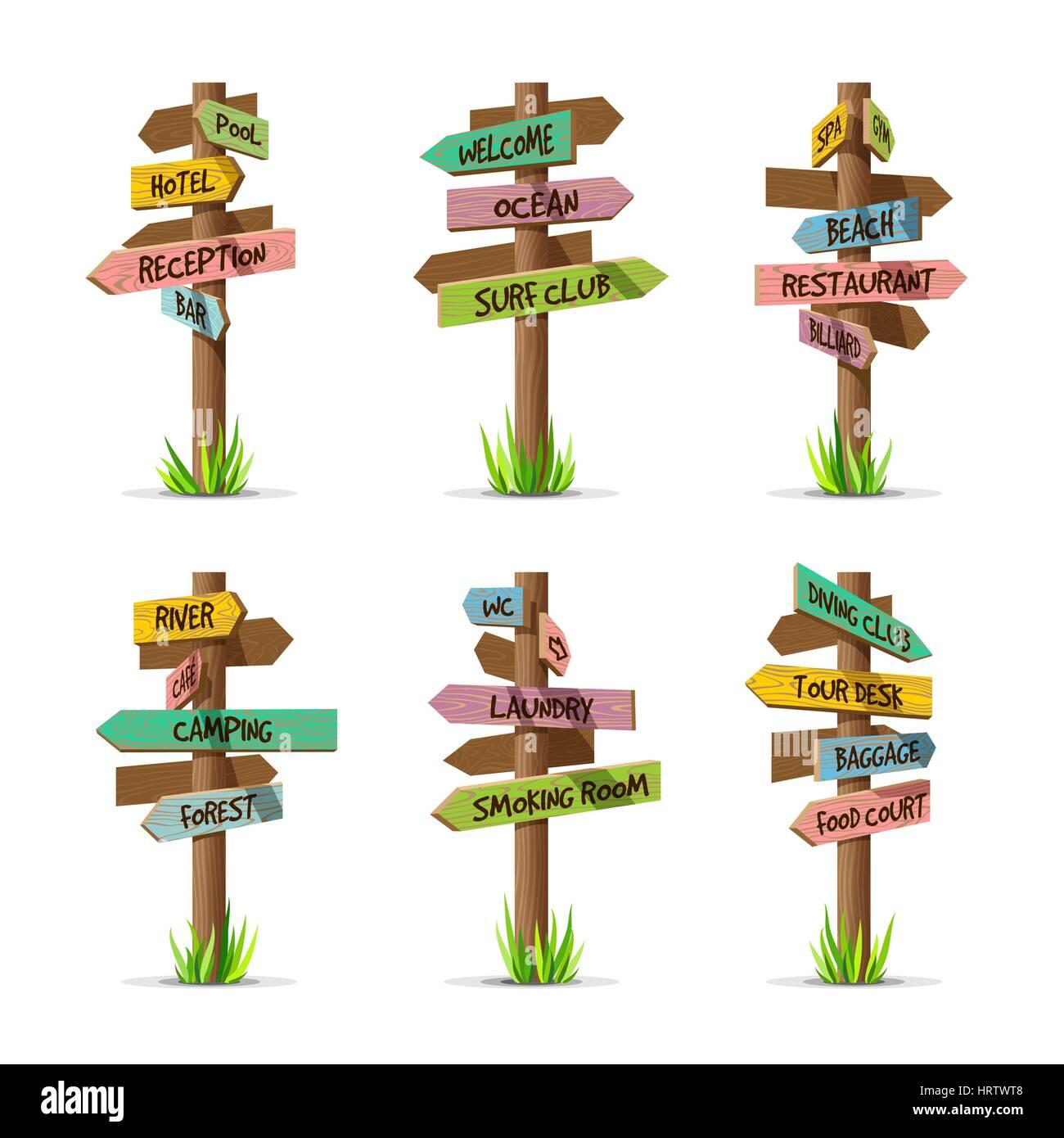 Colored wooden arrow signboards resort vector set - Stock Image