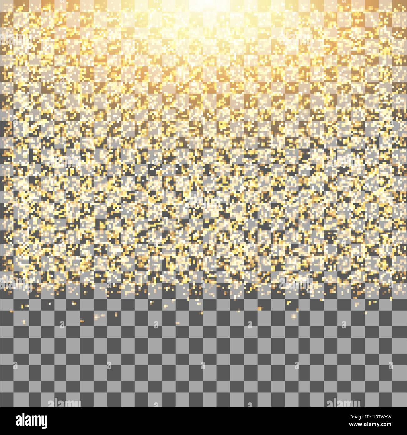 Gold glow glitter sparkles on transparent background.Falling dust. Vector illustration. - Stock Vector