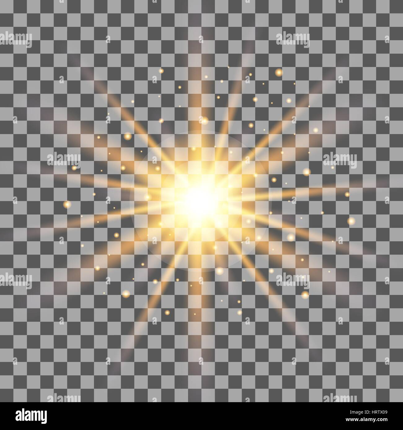 gold rays light effect isolated on transparent background vector illustration