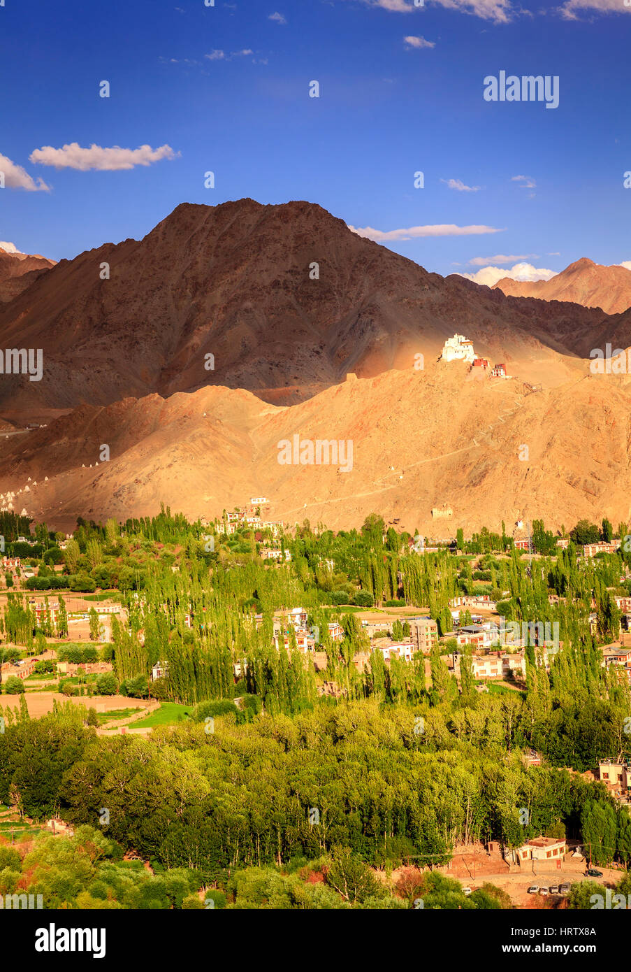Bird's eye view of city of Leh in Ladakh, Kashmir and surrounding mountains - Stock Image