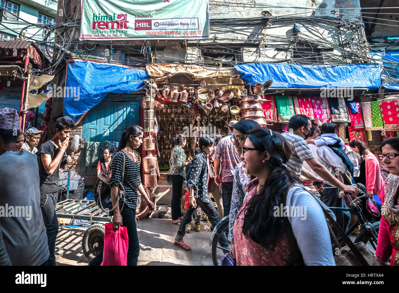 Crowd in an alley of Thamel shopping area. Kathmandu, Nepal. - Stock Image