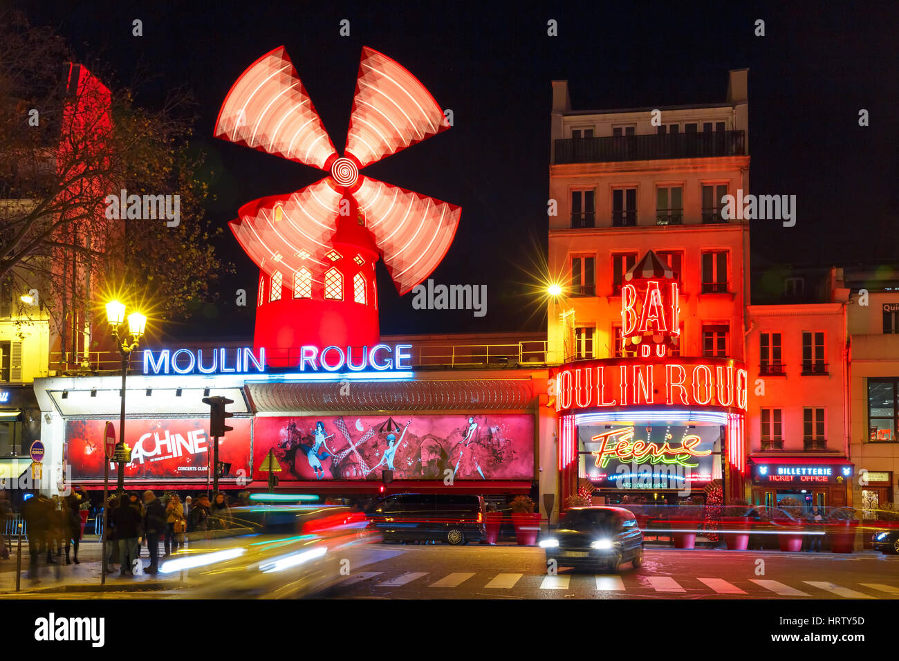 Paris, France - December 28, 2016: The picturesque famous cabaret Moulin Rouge located close to Montmartre in the - Stock Image