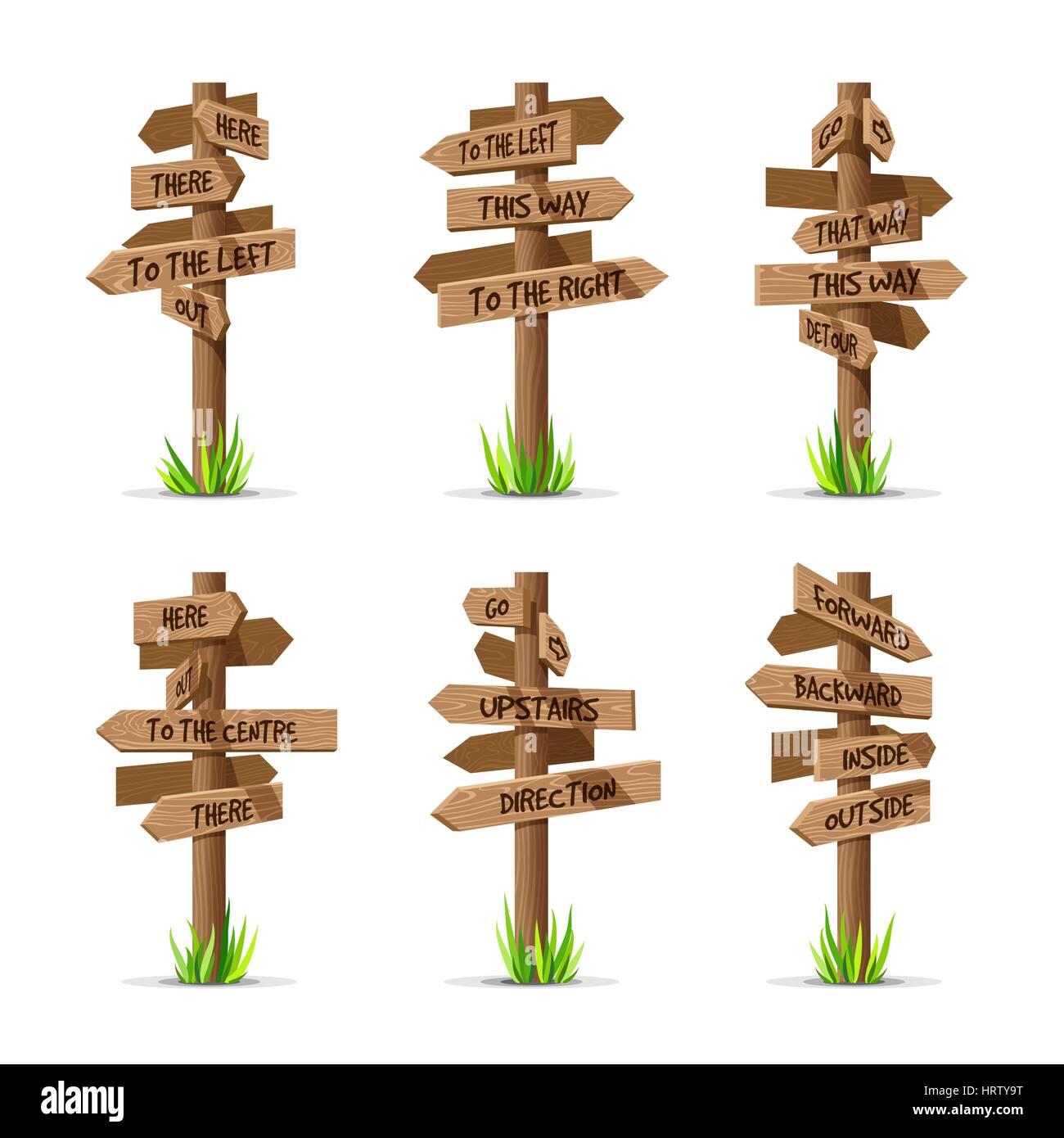 Wooden arrow signboards direction vector set - Stock Image