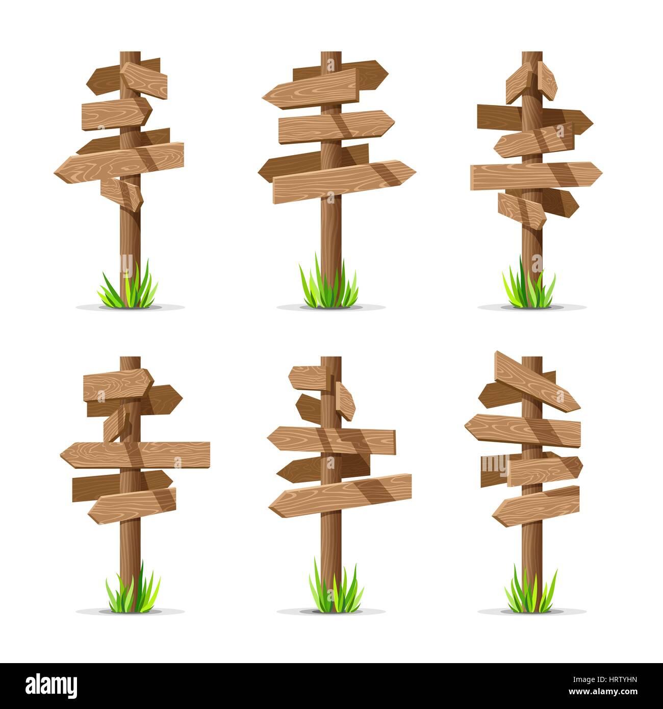 Wooden arrow signboards blank vector set - Stock Vector