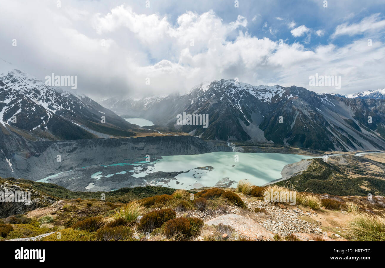 View on Hooker Valley from Sealy Tarns track, glacial lakes Mueller Lake and Hooker Lake, Mount Cook National Park - Stock Image