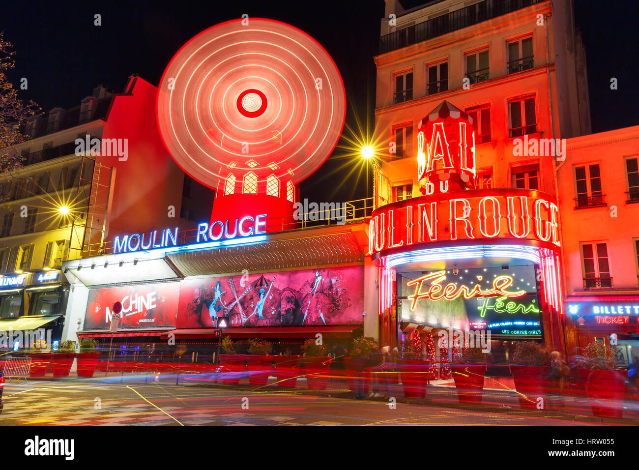Paris, France - December 28, 2016: The picturesque famous cabaret Moulin Rouge located close to Montmartre in the Stock Photo