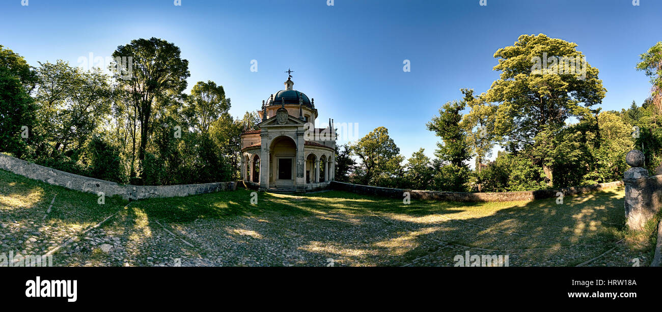 Chapel on the Sacred Way in summer season - Santa Maria del Monte Varese Stock Photo
