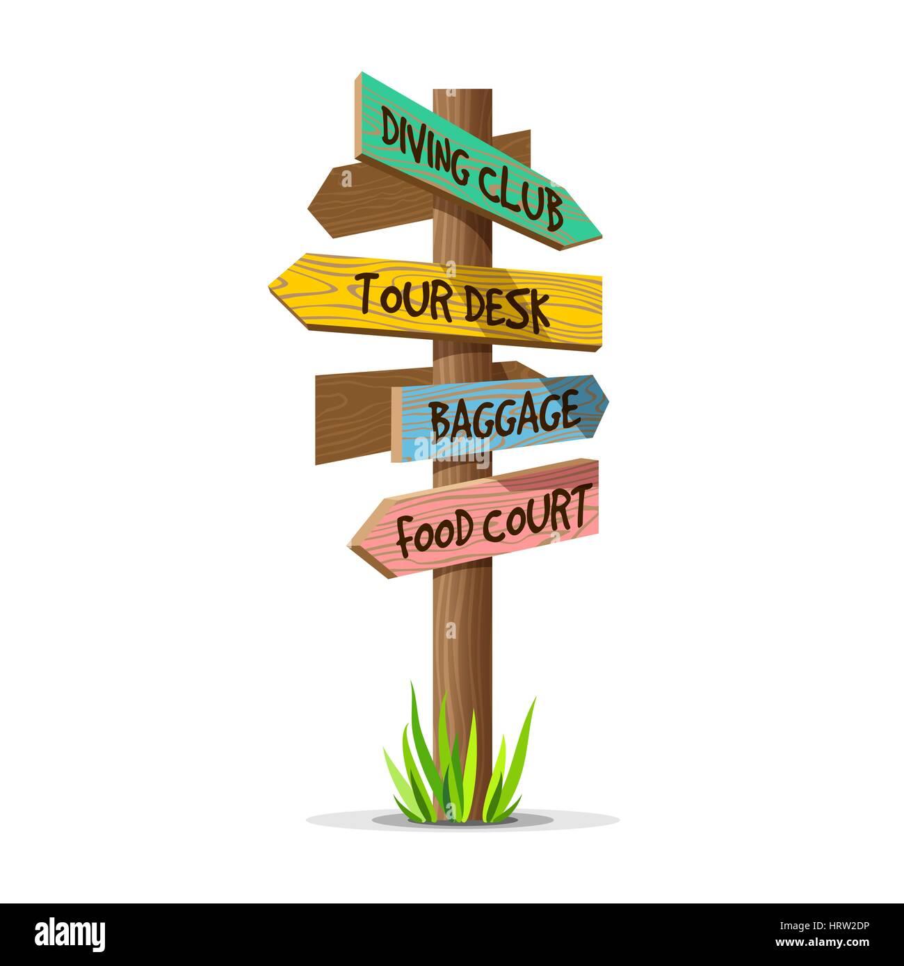 Colored wooden arrow vector resort signboard - Stock Image