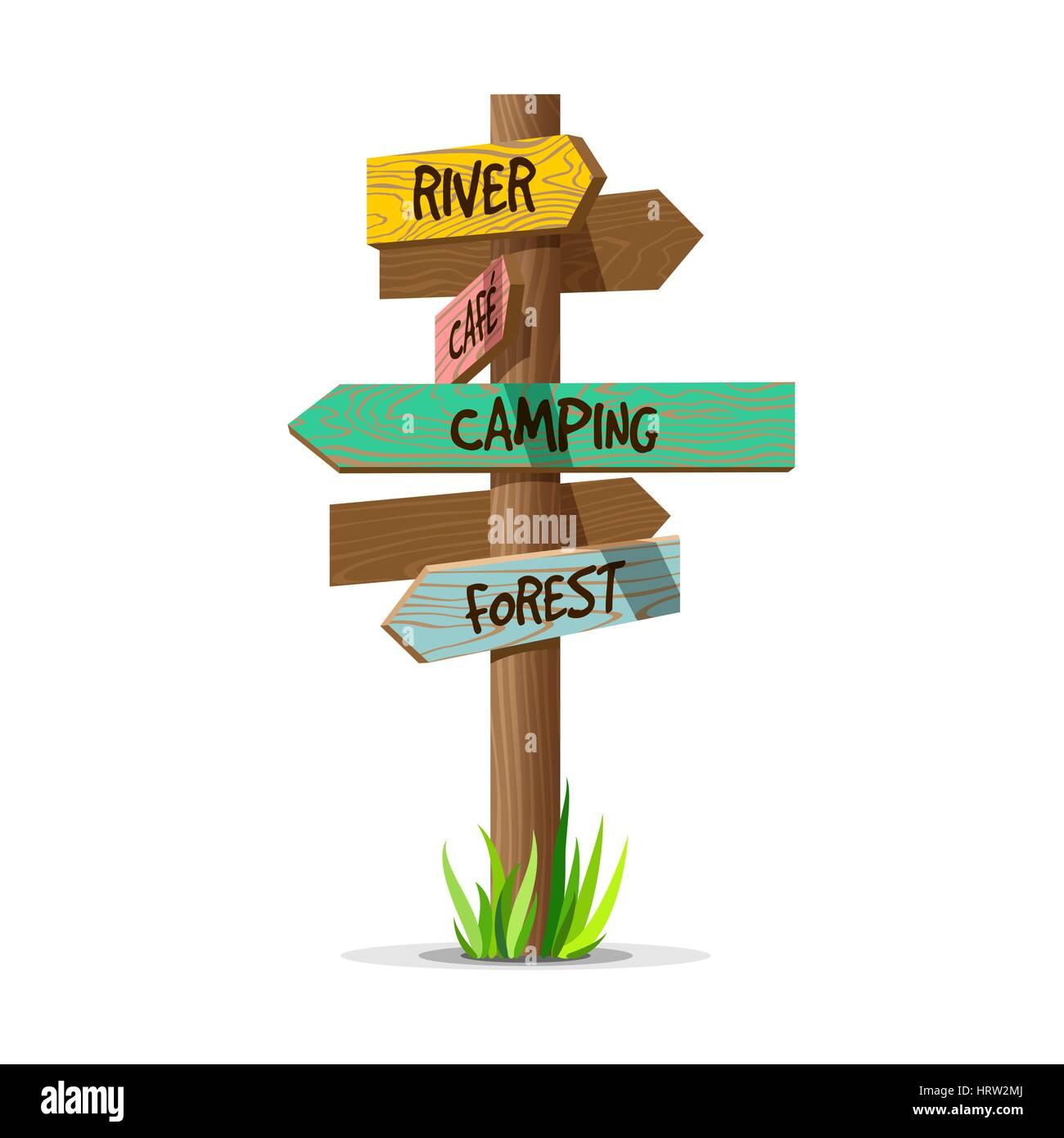 Colored wooden arrow vector resort signboard - Stock Vector