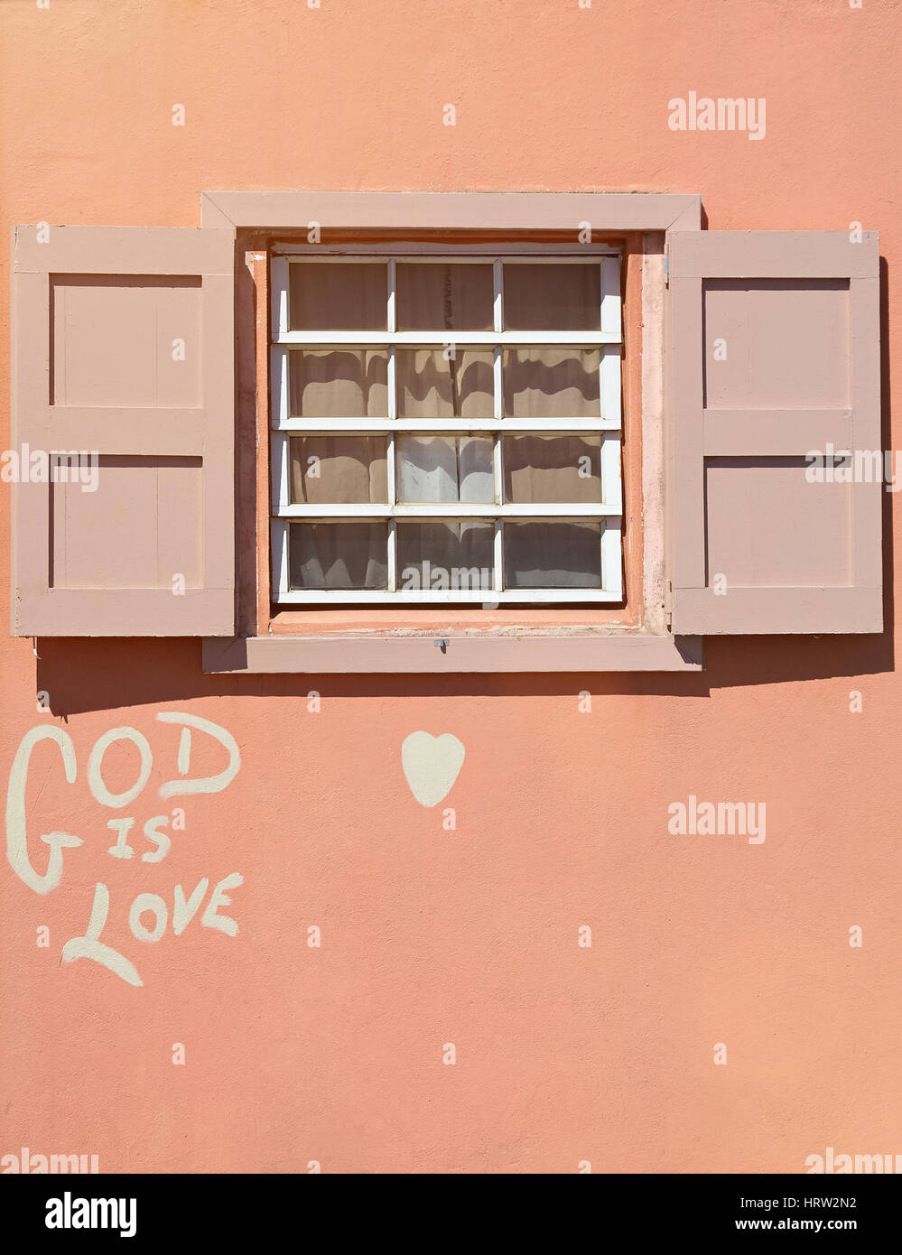 Wooden Window In Pink House Wall With Graffiti God Is Love Simple