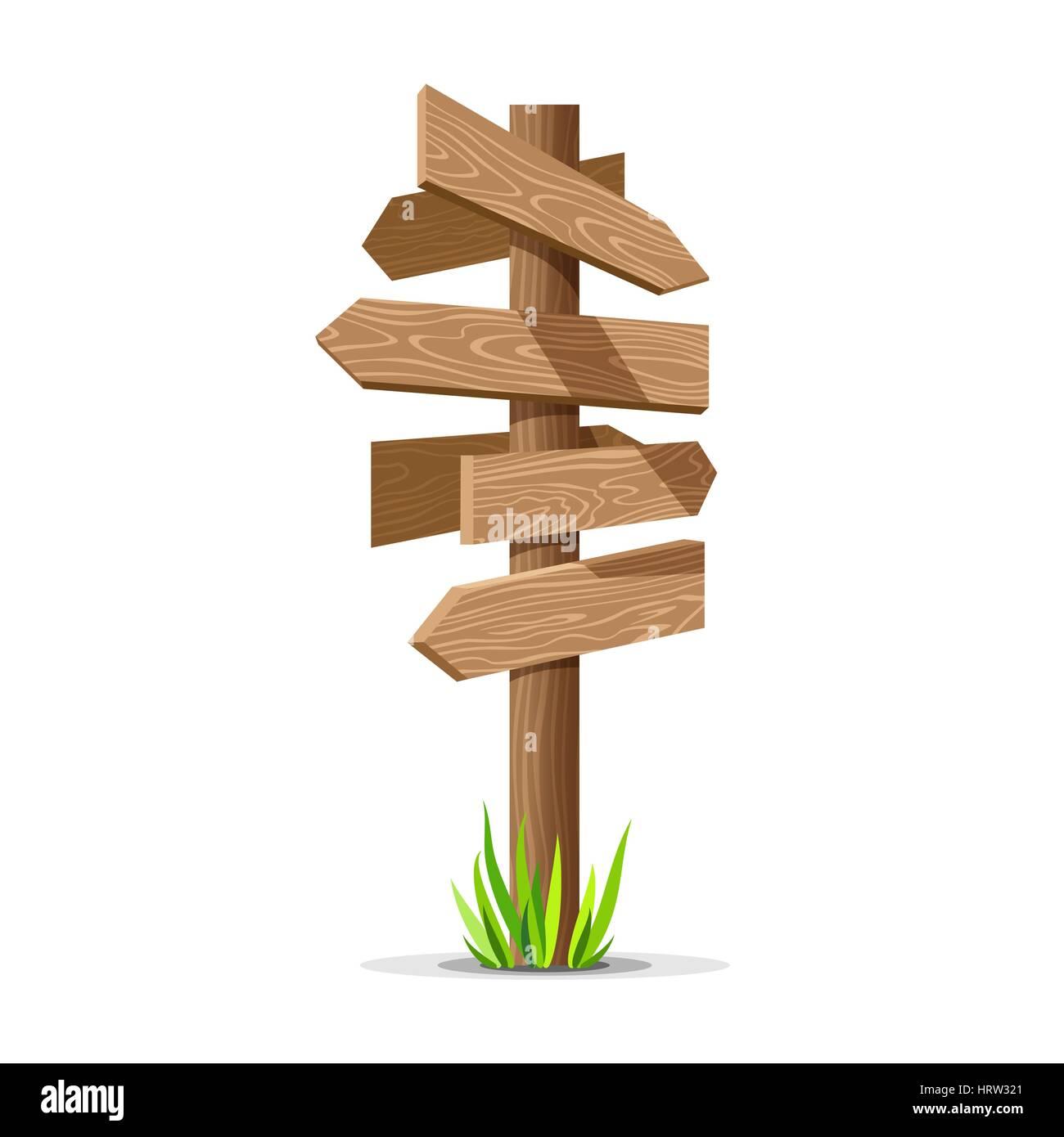 Wooden arrow vector empty signboard - Stock Image