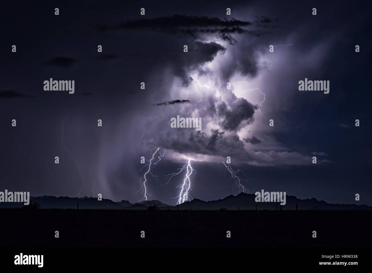Lightning bolts striking - Stock Image