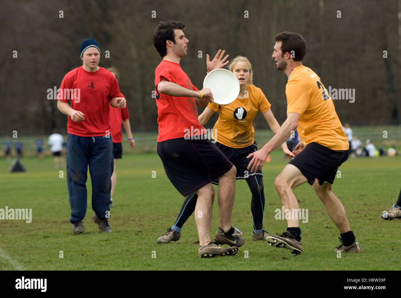 Frisbee team match - Stock Image