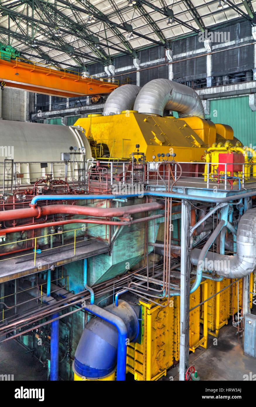 electric generator power plant. Machine Room In Thermal Power Plant With Electric Generators And Turbines Generator E
