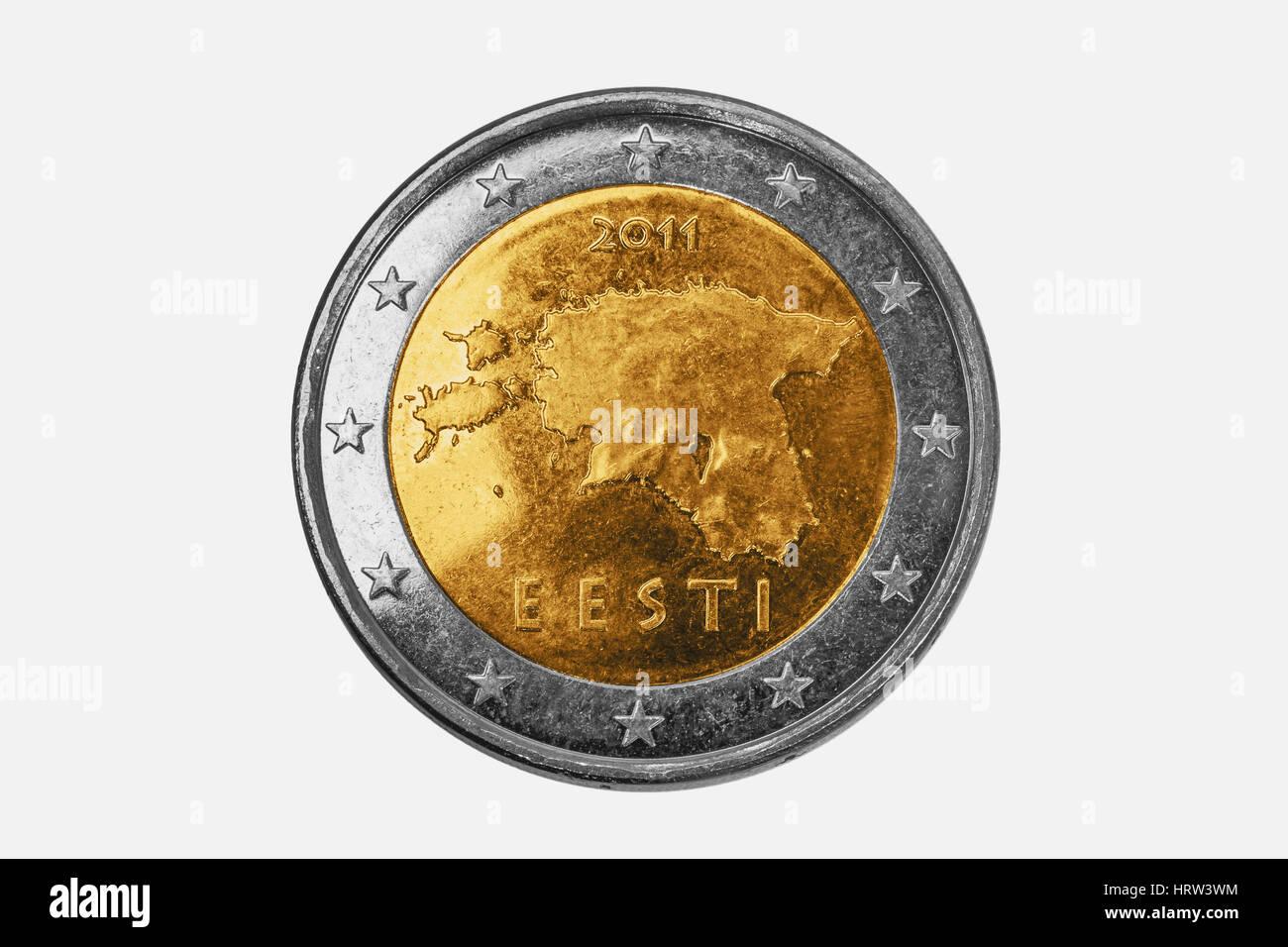 a 2 euro coin from Estonia on white background Stock Photo