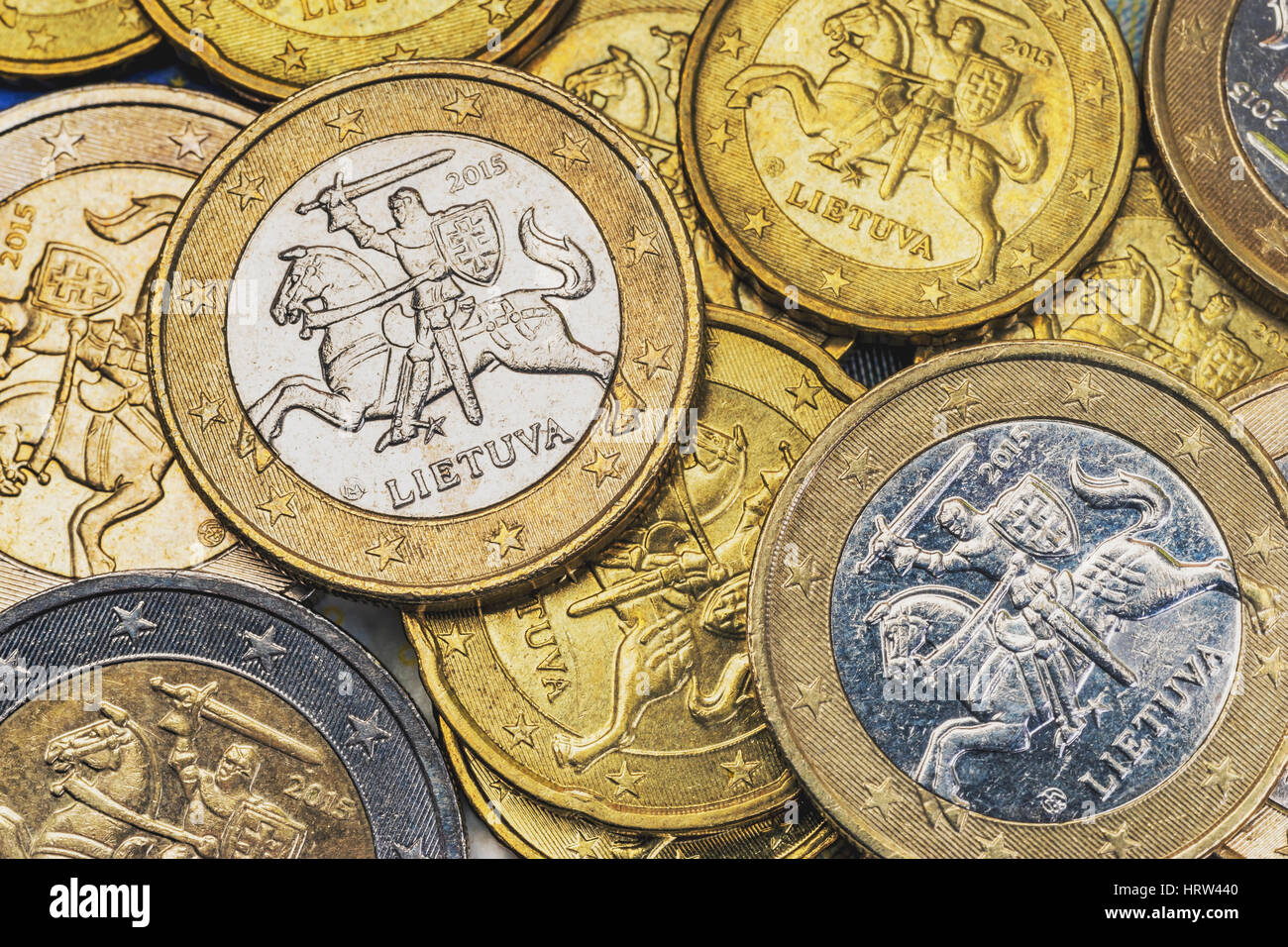 Many euro coins from Lithuania - Stock Image