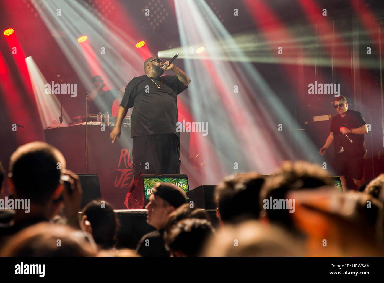 PARIS - AUG 31: Run the Jewels (hip hop band) in concert at Rock En Seine Festival on August 31, 2015 in Paris, Stock Photo