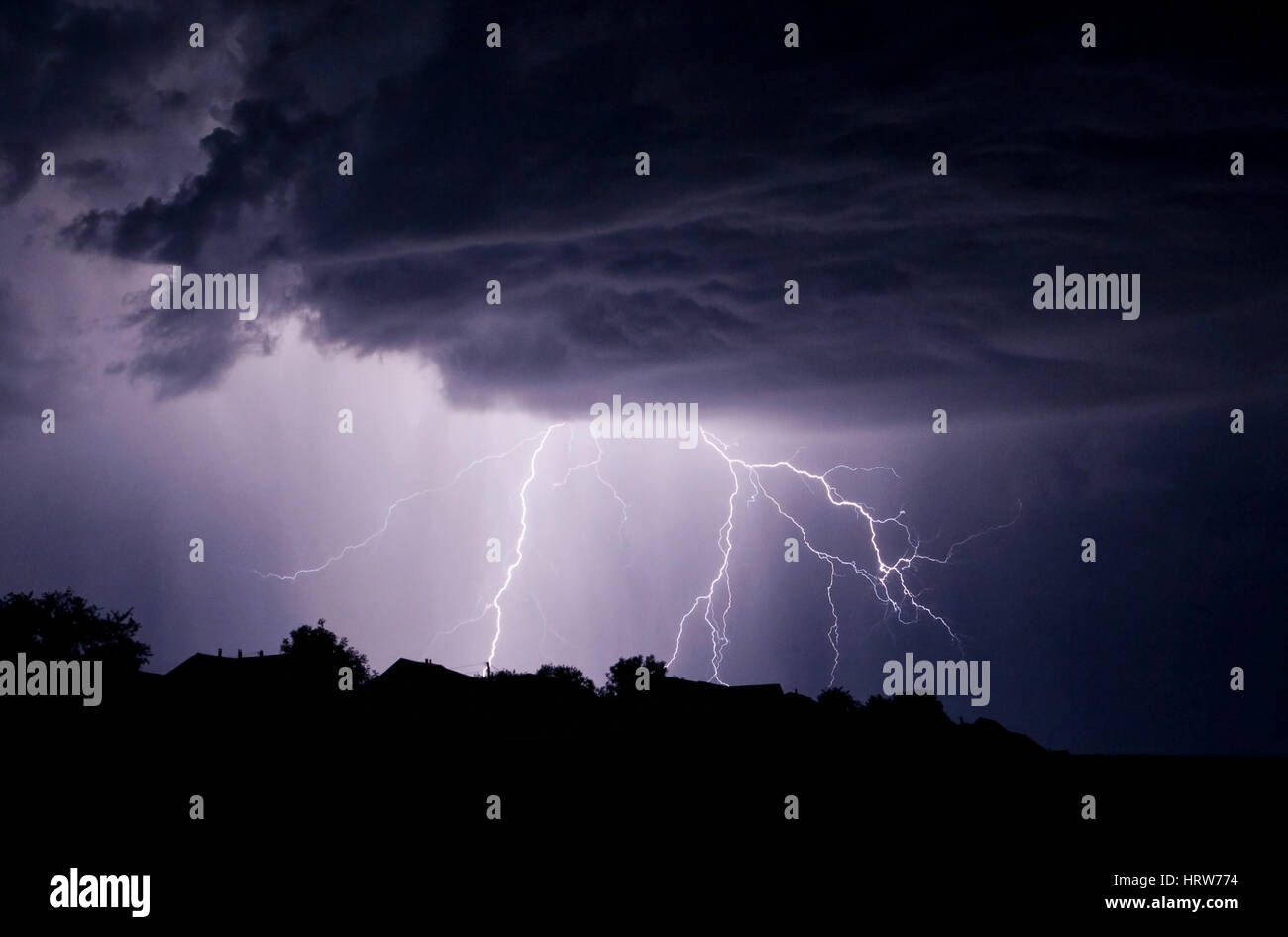 Powerful Lightning Storm In The Sky With Dark Clouds