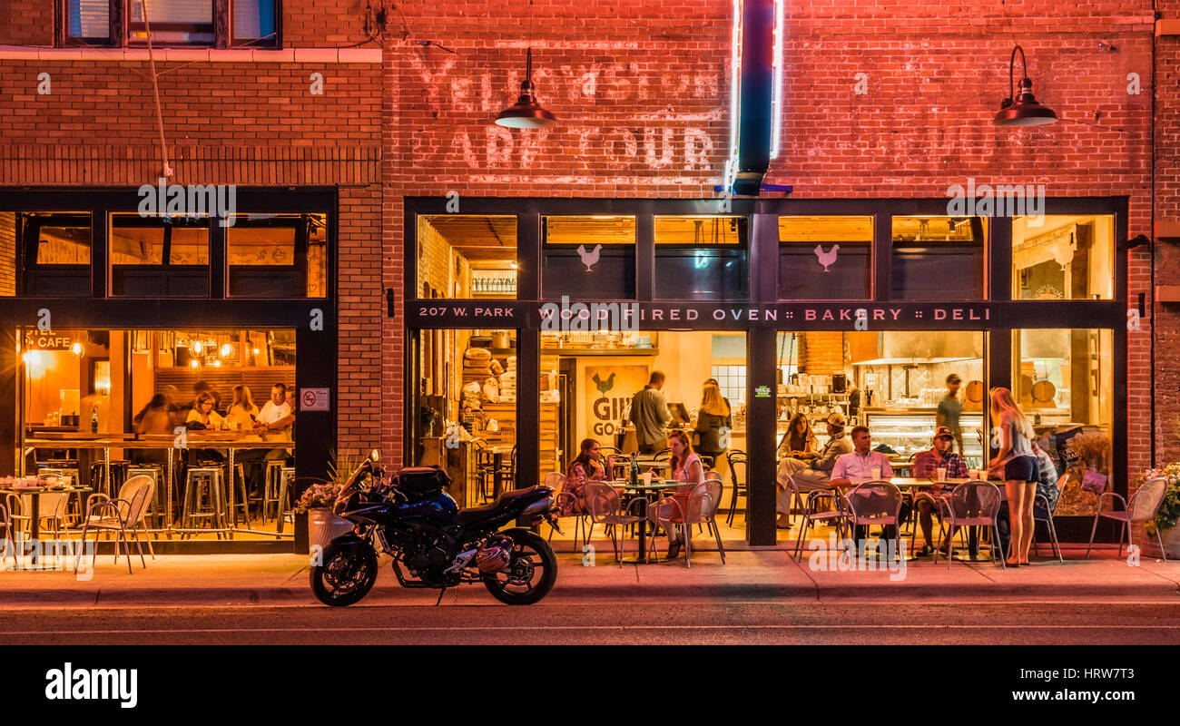 Evening at Gil's Goods and the Murray Bar in downtown Livingston, Montana. - Stock Image