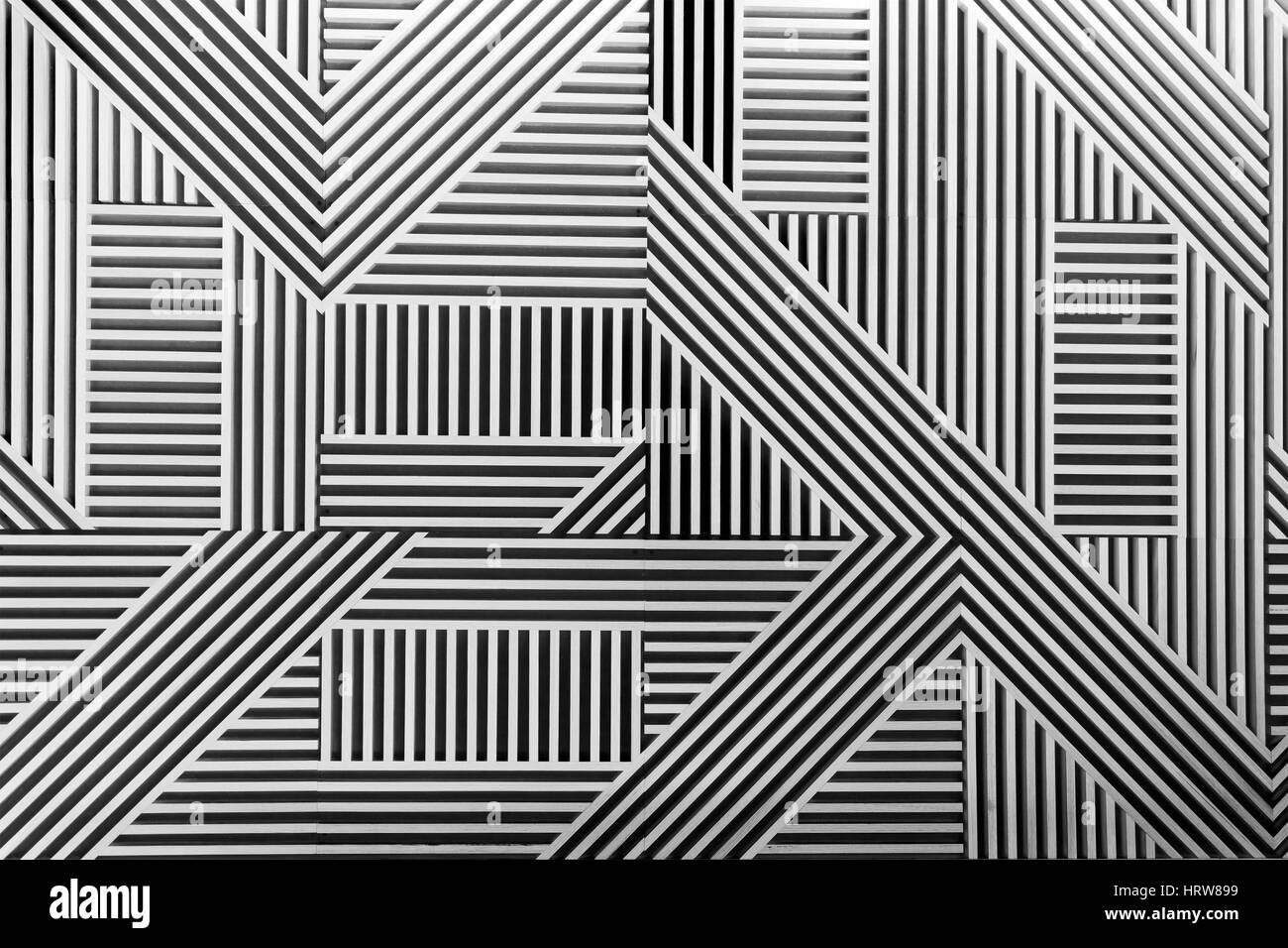 Timber decoration panel converted to black-white to highlight structure and texture of interior detail. - Stock Image