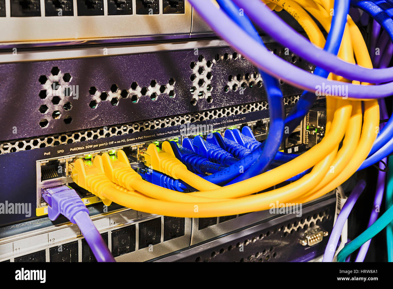 Patch Panel Stock Photos Images Alamy 19 Wiring Diagram Data Centre With Cords Connected To Power Over Ethernet Ports Of Switch Mounted