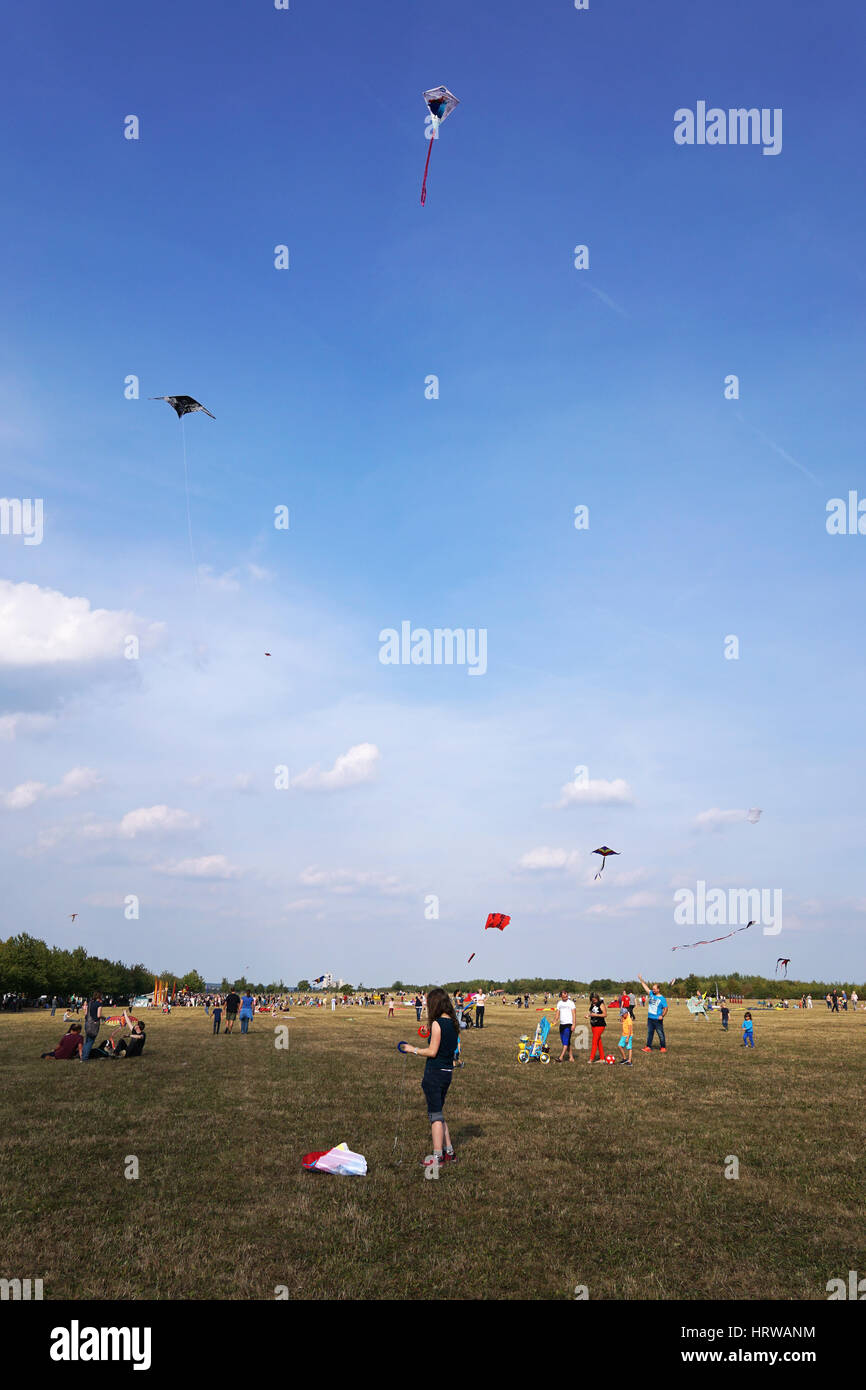 Hannover, Germany - September 24, 2016: The anual free kite flying festival is a popular family event. - Stock Image