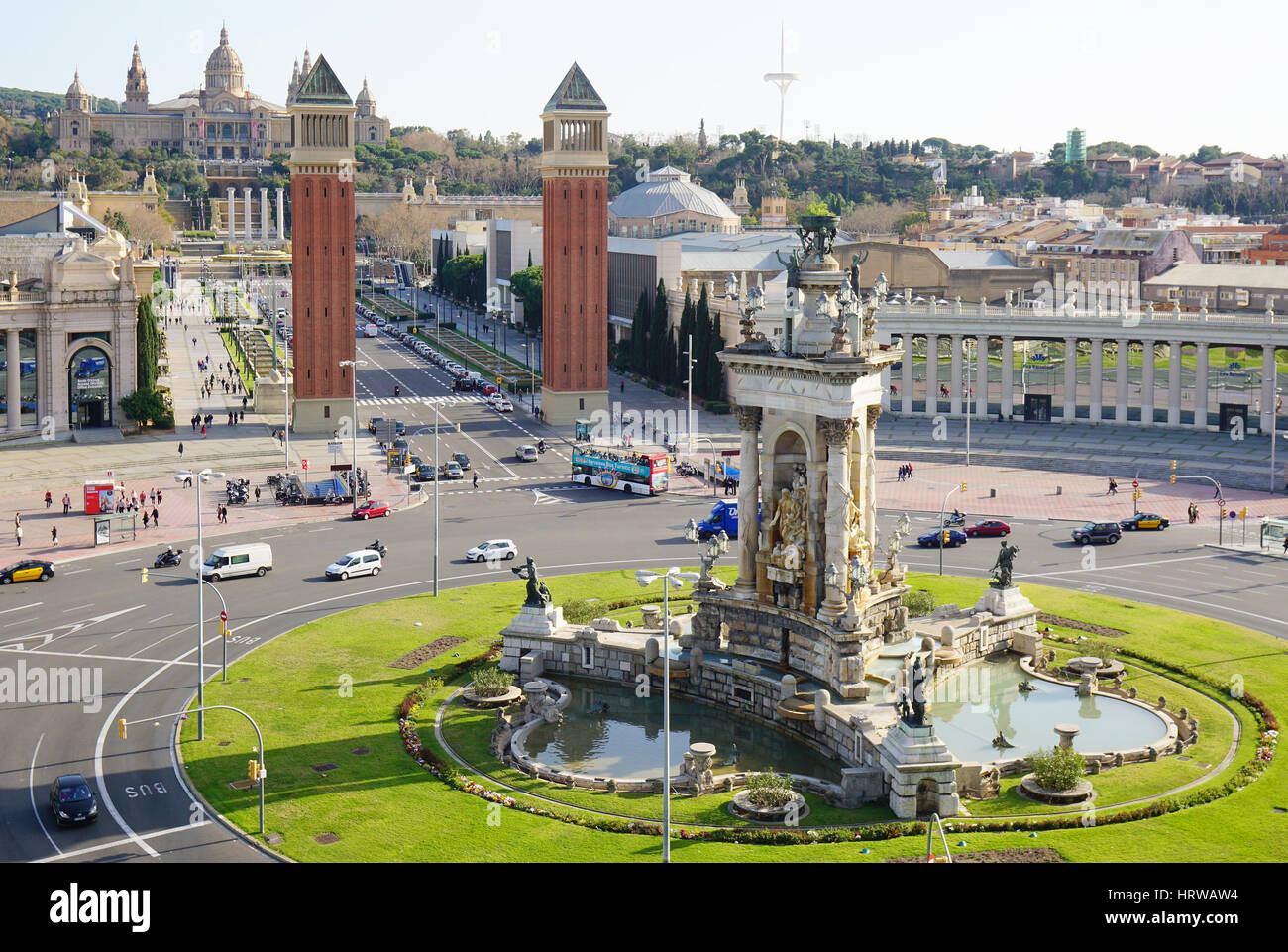 Barcelona, Spain - Feb 29, 2016: Aerial view of Placa d'Espagna towards Venetian Towers and Palau Nacional at - Stock Image
