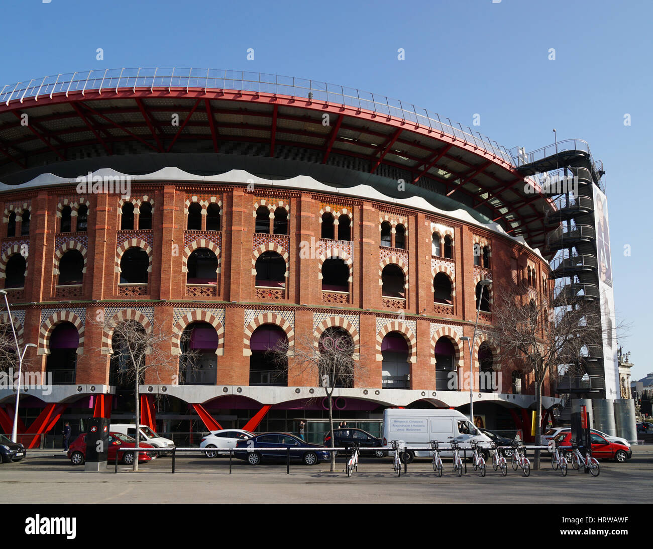 Barcelona, Spain - Feb 29, 2016: Arenas de Barcelona is a former bullring turned commercial complex at the Placa - Stock Image